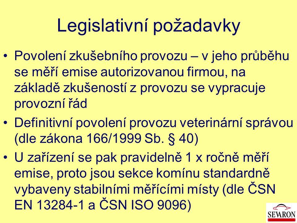 Povolení zkušebního provozu – v jeho průběhu se měří emise autorizovanou firmou, na základě zkušeností z provozu se vypracuje provozní řád Definitivní povolení provozu veterinární správou (dle zákona 166/1999 Sb.