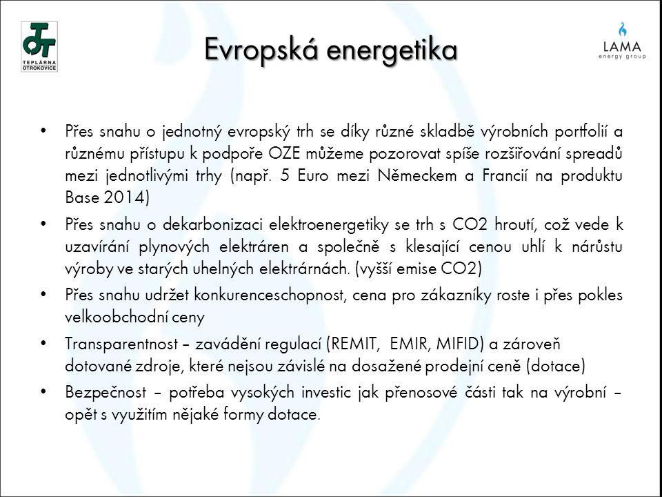 Evropská energetika Přes snahu o jednotný evropský trh se díky různé skladbě výrobních portfolií a různému přístupu k podpoře OZE můžeme pozorovat spí