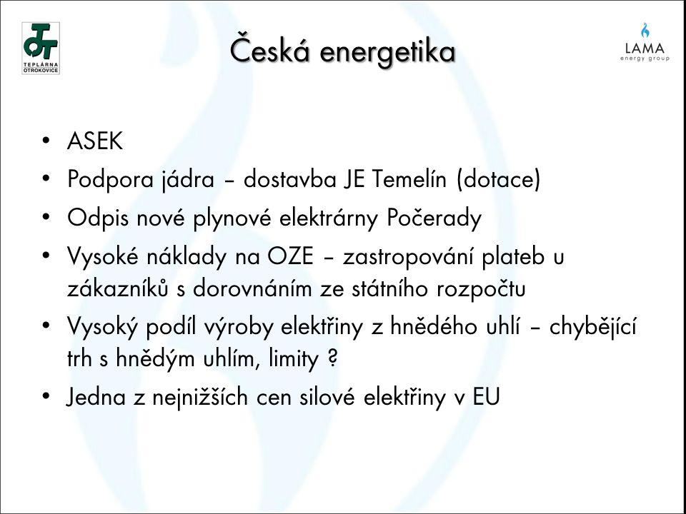 Česká energetika ASEK Podpora jádra – dostavba JE Temelín (dotace) Odpis nové plynové elektrárny Počerady Vysoké náklady na OZE – zastropování plateb u zákazníků s dorovnáním ze státního rozpočtu Vysoký podíl výroby elektřiny z hnědého uhlí – chybějící trh s hnědým uhlím, limity .