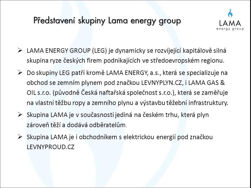 Představení skupiny Lama energy group  LAMA ENERGY GROUP (LEG) je dynamicky se rozvíjející kapitálově silná skupina ryze českých firem podnikajících