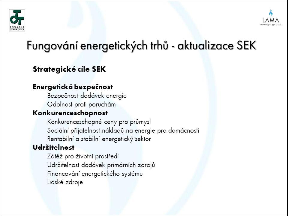 Fungování energetických trhů - aktualizace SEK Strategické cíle SEK Energetická bezpečnost Bezpečnost dodávek energie Odolnost proti poruchám Konkurenceschopnost Konkurenceschopné ceny pro průmysl Sociální přijatelnost nákladů na energie pro domácnosti Rentabilní a stabilní energetický sektor Udržitelnost Zátěž pro životní prostředí Udržitelnost dodávek primárních zdrojů Financování energetického systému Lidské zdroje