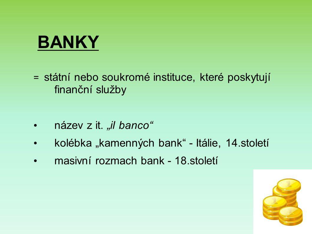 BANKY = státní nebo soukromé instituce, které poskytují finanční služby název z it.