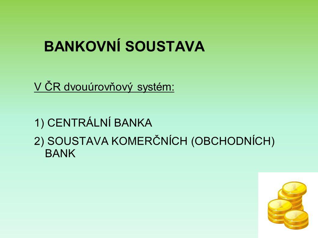 BANKOVNÍ SOUSTAVA V ČR dvouúrovňový systém: 1) CENTRÁLNÍ BANKA 2) SOUSTAVA KOMERČNÍCH (OBCHODNÍCH) BANK