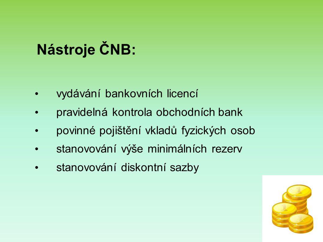 Nástroje ČNB: vydávání bankovních licencí pravidelná kontrola obchodních bank povinné pojištění vkladů fyzických osob stanovování výše minimálních rezerv stanovování diskontní sazby