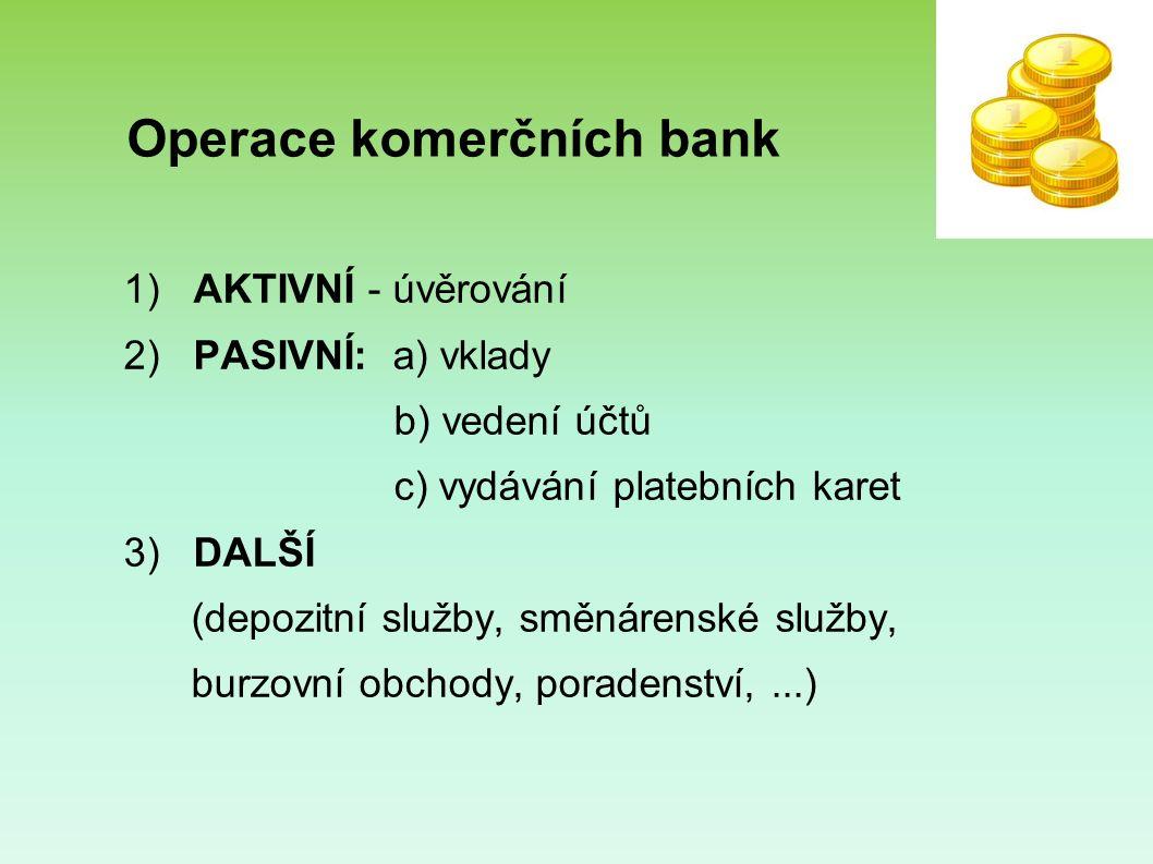 Operace komerčních bank 1) AKTIVNÍ - úvěrování 2) PASIVNÍ: a) vklady b) vedení účtů c) vydávání platebních karet 3) DALŠÍ (depozitní služby, směnárenské služby, burzovní obchody, poradenství,...)
