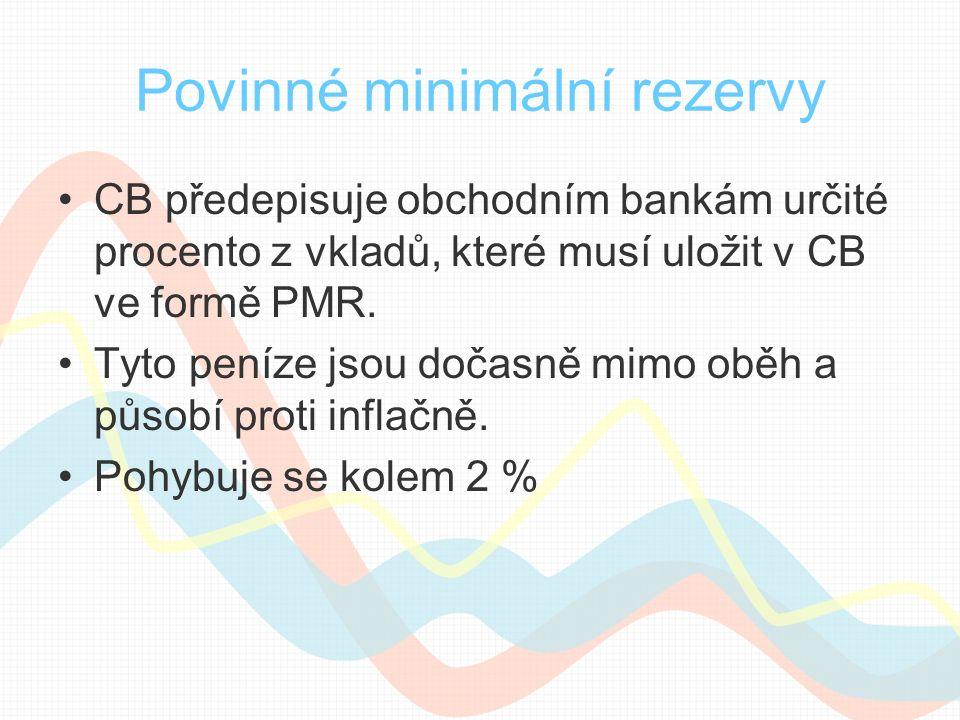 Povinné minimální rezervy CB předepisuje obchodním bankám určité procento z vkladů, které musí uložit v CB ve formě PMR. Tyto peníze jsou dočasně mimo
