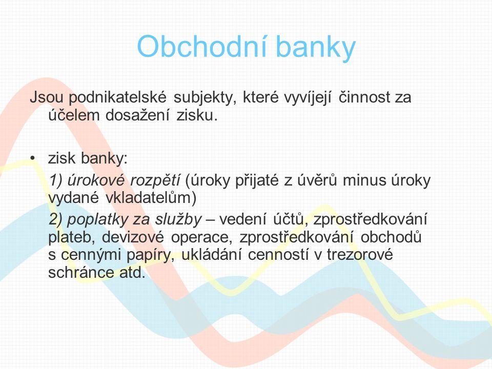 Obchodní banky Jsou podnikatelské subjekty, které vyvíjejí činnost za účelem dosažení zisku. zisk banky: 1) úrokové rozpětí (úroky přijaté z úvěrů min
