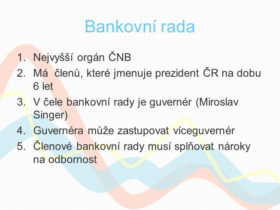 Bankovní rada 1.Nejvyšší orgán ČNB 2.Má členů, které jmenuje prezident ČR na dobu 6 let 3.V čele bankovní rady je guvernér (Miroslav Singer) 4.Guvernéra může zastupovat víceguvernér 5.Členové bankovní rady musí splňovat nároky na odbornost