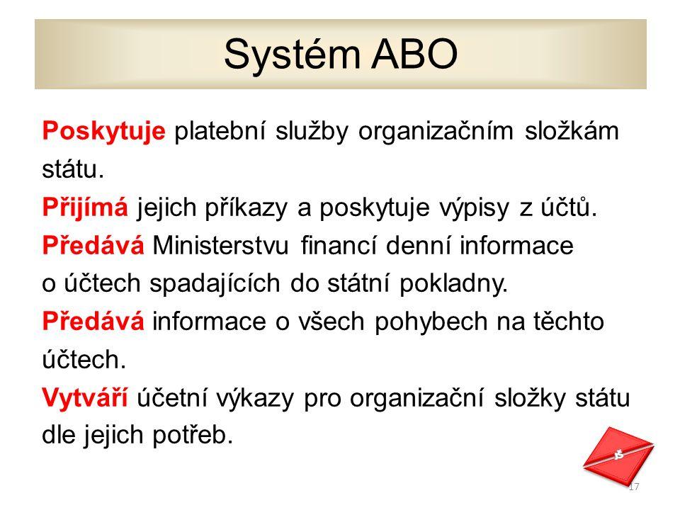 Poskytuje platební služby organizačním složkám státu.