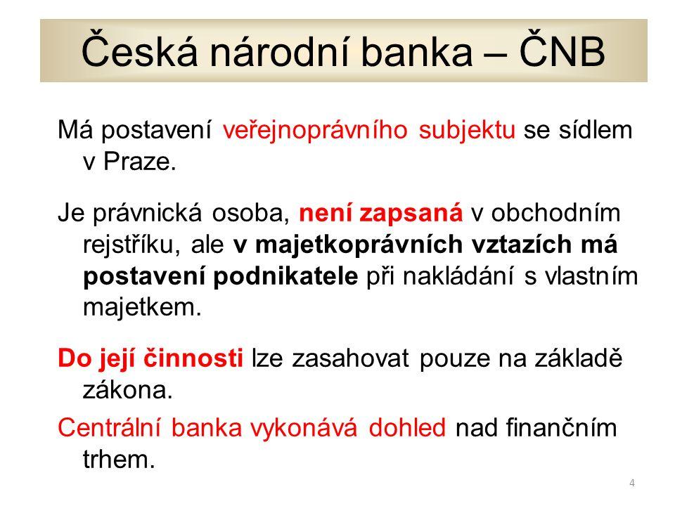 Česká národní banka – ČNB Má postavení veřejnoprávního subjektu se sídlem v Praze.