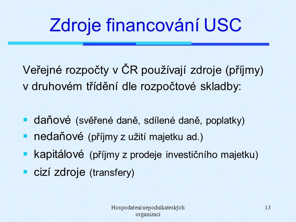 Hospodaření nepodnikateských organizací 13 Zdroje financování USC Veřejné rozpočty v ČR používají zdroje (příjmy) v druhovém třídění dle rozpočtové skladby:  daňové (svěřené daně, sdílené daně, poplatky)  nedaňové (příjmy z užití majetku ad.)  kapitálové (příjmy z prodeje investičního majetku)  cizí zdroje (transfery)