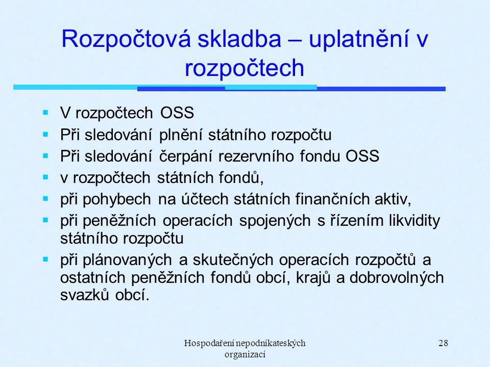 Hospodaření nepodnikateských organizací 28 Rozpočtová skladba – uplatnění v rozpočtech  V rozpočtech OSS  Při sledování plnění státního rozpočtu  Při sledování čerpání rezervního fondu OSS  v rozpočtech státních fondů,  při pohybech na účtech státních finančních aktiv,  při peněžních operacích spojených s řízením likvidity státního rozpočtu  při plánovaných a skutečných operacích rozpočtů a ostatních peněžních fondů obcí, krajů a dobrovolných svazků obcí.