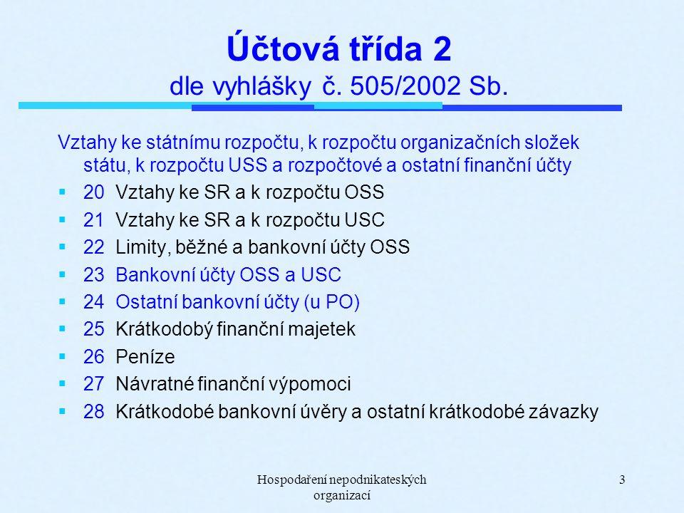 Hospodaření nepodnikateských organizací 3 Účtová třída 2 dle vyhlášky č.