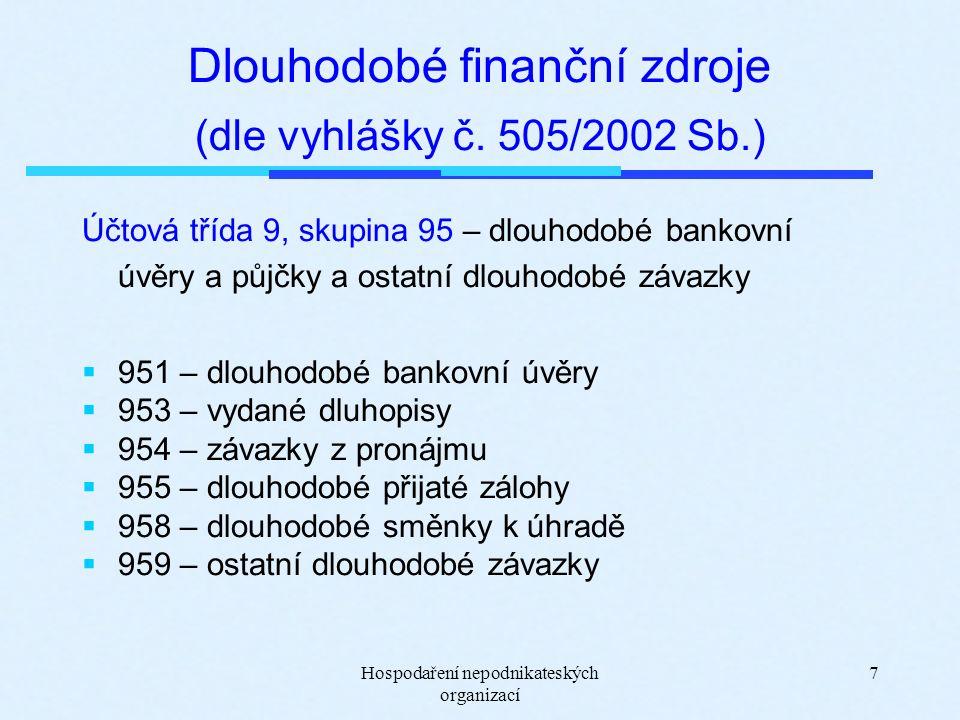 Hospodaření nepodnikateských organizací 7 Dlouhodobé finanční zdroje (dle vyhlášky č.