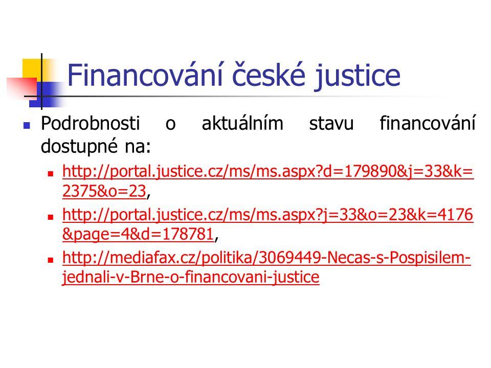 Financování české justice Podrobnosti o aktuálním stavu financování dostupné na: http://portal.justice.cz/ms/ms.aspx d=179890&j=33&k= 2375&o=23, http://portal.justice.cz/ms/ms.aspx d=179890&j=33&k= 2375&o=23 http://portal.justice.cz/ms/ms.aspx j=33&o=23&k=4176 &page=4&d=178781, http://portal.justice.cz/ms/ms.aspx j=33&o=23&k=4176 &page=4&d=178781 http://mediafax.cz/politika/3069449-Necas-s-Pospisilem- jednali-v-Brne-o-financovani-justice http://mediafax.cz/politika/3069449-Necas-s-Pospisilem- jednali-v-Brne-o-financovani-justice