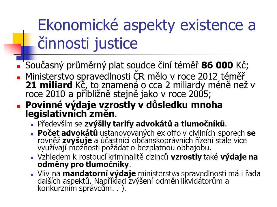 Ekonomické aspekty existence a činnosti justice Současný průměrný plat soudce činí téměř 86 000 Kč; Ministerstvo spravedlnosti ČR mělo v roce 2012 téměř 21 miliard Kč, to znamená o cca 2 miliardy méně než v roce 2010 a přibližně stejně jako v roce 2005; Povinné výdaje vzrostly v důsledku mnoha legislativních změn.
