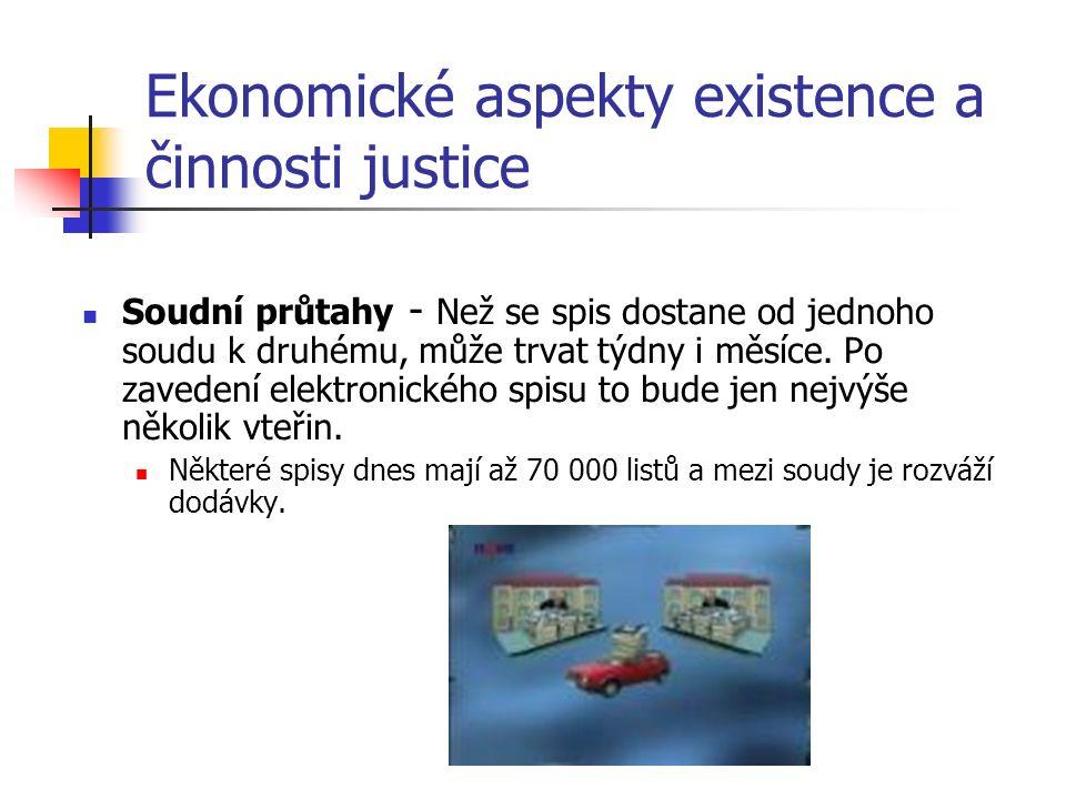 Ekonomické aspekty existence a činnosti justice Soudní průtahy - Než se spis dostane od jednoho soudu k druhému, může trvat týdny i měsíce.