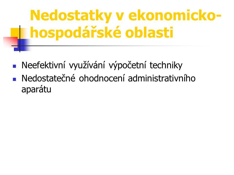 Neefektivní využívání výpočetní techniky Nedostatečné ohodnocení administrativního aparátu Nedostatky v ekonomicko- hospodářské oblasti