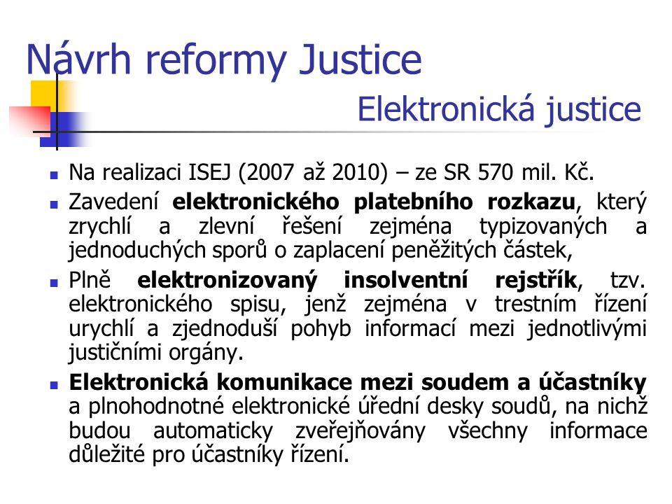 Elektronická justice Na realizaci ISEJ (2007 až 2010) – ze SR 570 mil.