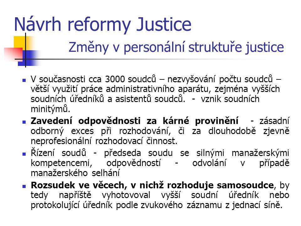 Návrh reformy Justice Změny v personální struktuře justice V současnosti cca 3000 soudců – nezvyšování počtu soudců – větší využití práce administrativního aparátu, zejména vyšších soudních úředníků a asistentů soudců.