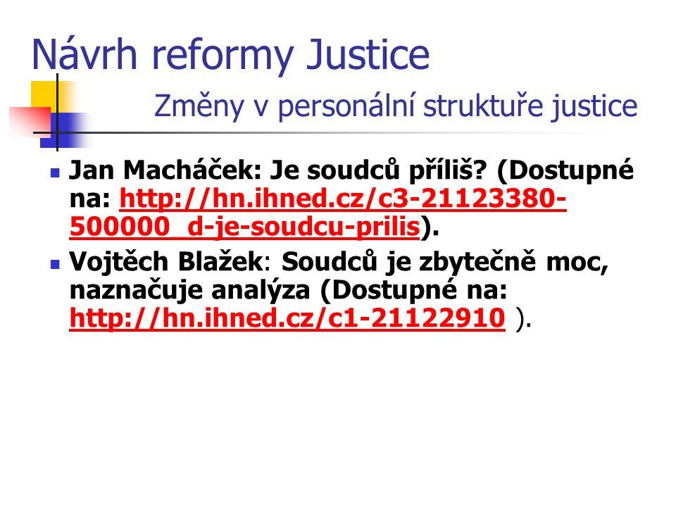 Návrh reformy Justice Změny v personální struktuře justice Jan Macháček: Je soudců příliš.