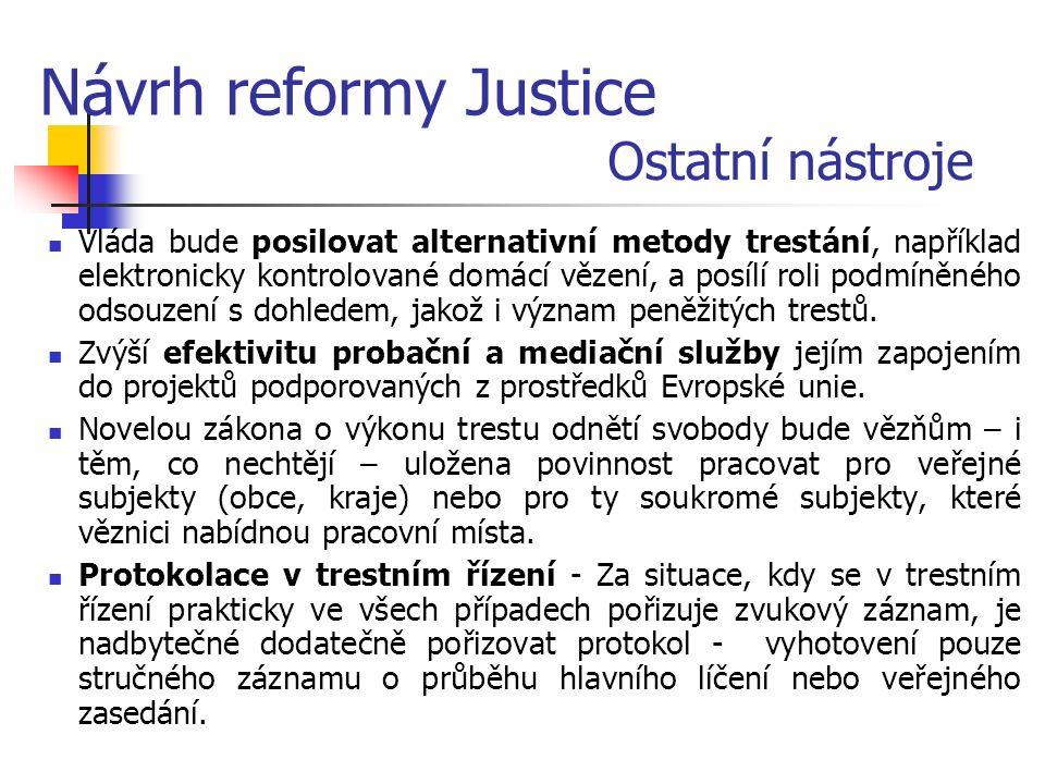 Návrh reformy Justice Ostatní nástroje Vláda bude posilovat alternativní metody trestání, například elektronicky kontrolované domácí vězení, a posílí roli podmíněného odsouzení s dohledem, jakož i význam peněžitých trestů.