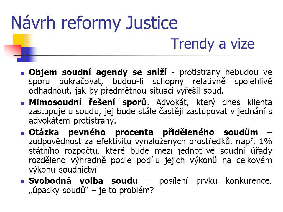 Návrh reformy Justice Trendy a vize Objem soudní agendy se sníží - protistrany nebudou ve sporu pokračovat, budou-li schopny relativně spolehlivě odhadnout, jak by předmětnou situaci vyřešil soud.
