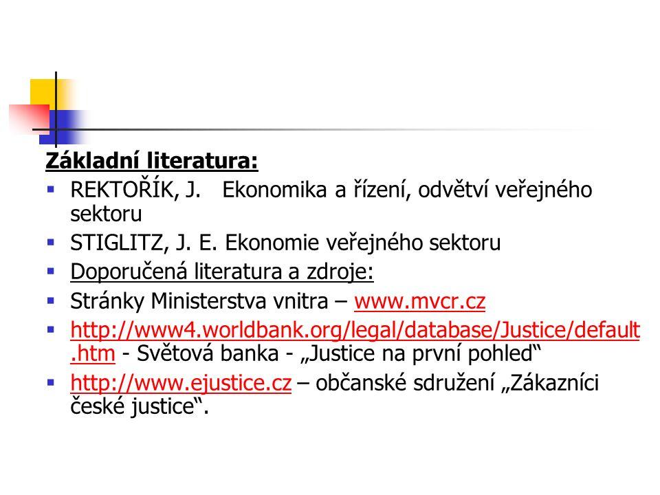 Základní literatura:  REKTOŘÍK, J. Ekonomika a řízení, odvětví veřejného sektoru  STIGLITZ, J.