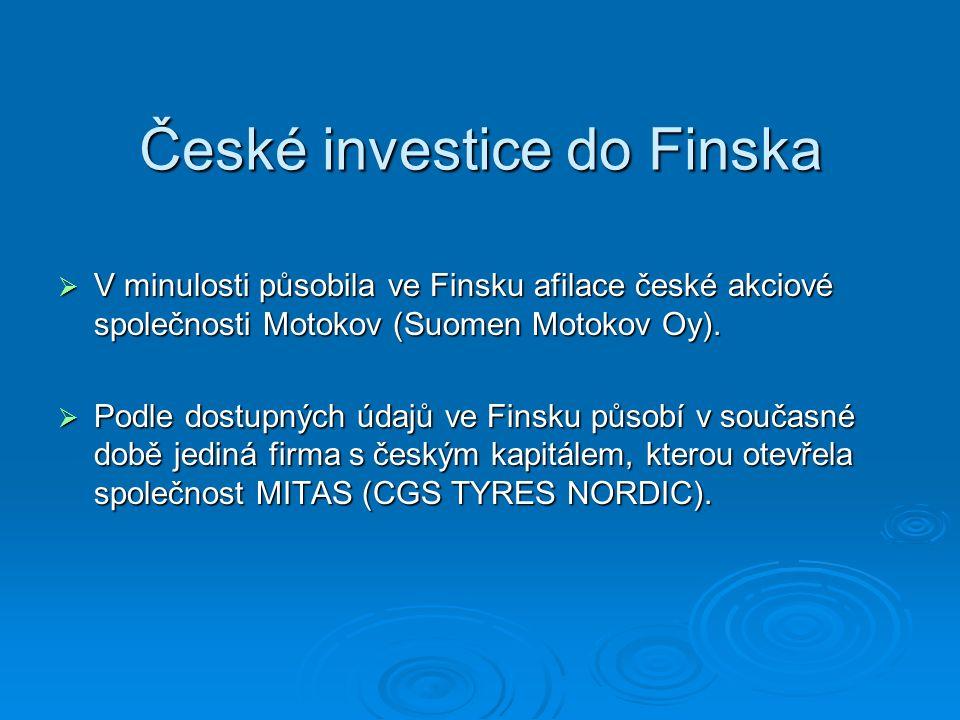 České investice do Finska  V minulosti působila ve Finsku afilace české akciové společnosti Motokov (Suomen Motokov Oy).