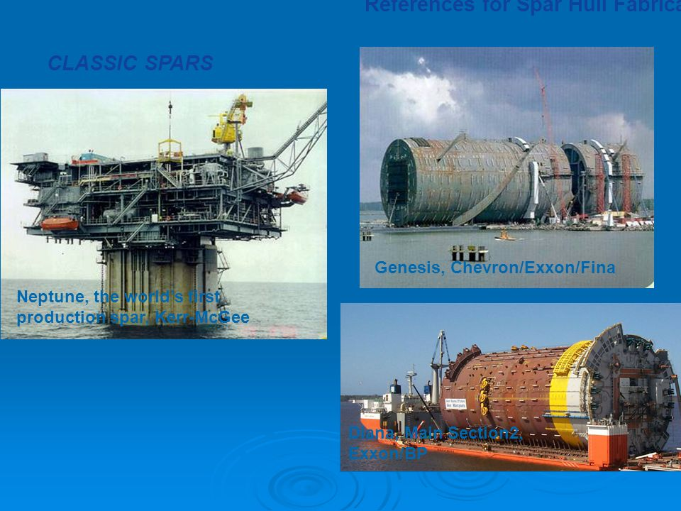 Neptune, the world's first production spar, Kerr-McGee Genesis, Chevron/Exxon/Fina CLASSIC SPARS Diana, Main Section2, Exxon/BP References for Spar Hull Fabrication