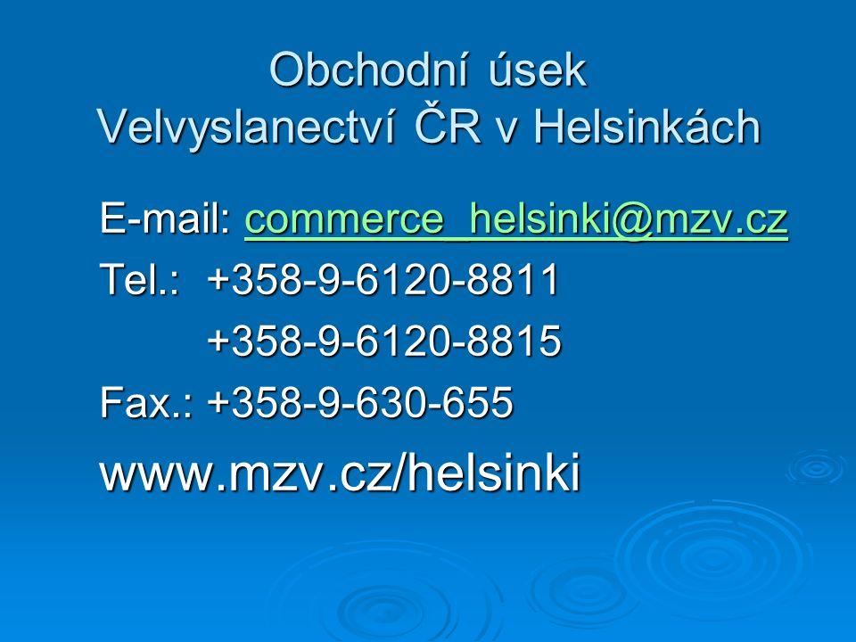 Obchodní úsek Velvyslanectví ČR v Helsinkách E-mail: commerce_helsinki@mzv.cz E-mail: commerce_helsinki@mzv.czcommerce_helsinki@mzv.cz Tel.: +358-9-6120-8811 Tel.: +358-9-6120-8811 +358-9-6120-8815 +358-9-6120-8815 Fax.: +358-9-630-655 Fax.: +358-9-630-655 www.mzv.cz/helsinki www.mzv.cz/helsinki
