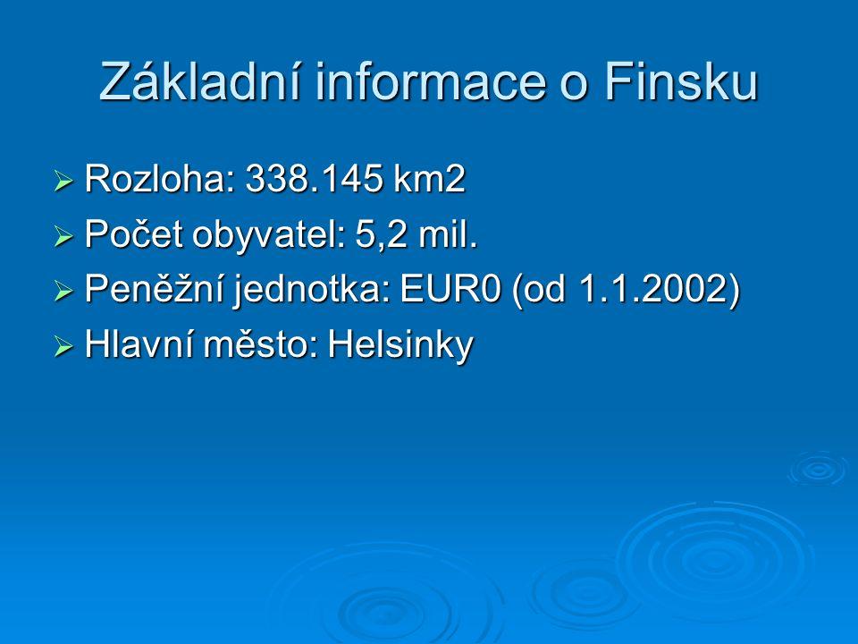 Základní informace o Finsku  Rozloha: 338.145 km2  Počet obyvatel: 5,2 mil.