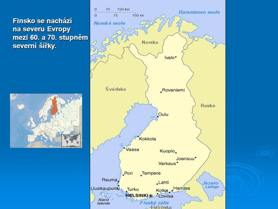 Finsko se nachází na severu Evropy mezi 60. a 70. stupněm severní šířky.
