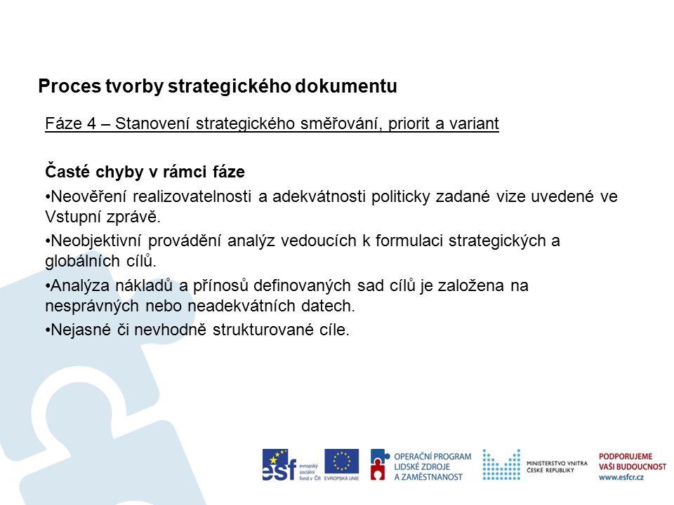Proces tvorby strategického dokumentu Fáze 4 – Stanovení strategického směřování, priorit a variant Časté chyby v rámci fáze Neověření realizovatelnosti a adekvátnosti politicky zadané vize uvedené ve Vstupní zprávě.