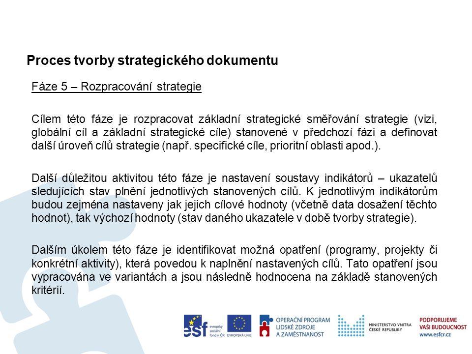Proces tvorby strategického dokumentu Fáze 5 – Rozpracování strategie Cílem této fáze je rozpracovat základní strategické směřování strategie (vizi, globální cíl a základní strategické cíle) stanovené v předchozí fázi a definovat další úroveň cílů strategie (např.