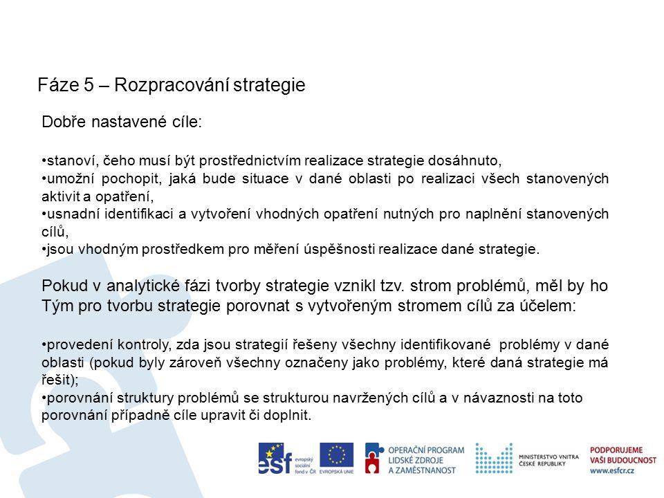 Fáze 5 – Rozpracování strategie 17 Dobře nastavené cíle: stanoví, čeho musí být prostřednictvím realizace strategie dosáhnuto, umožní pochopit, jaká bude situace v dané oblasti po realizaci všech stanovených aktivit a opatření, usnadní identifikaci a vytvoření vhodných opatření nutných pro naplnění stanovených cílů, jsou vhodným prostředkem pro měření úspěšnosti realizace dané strategie.