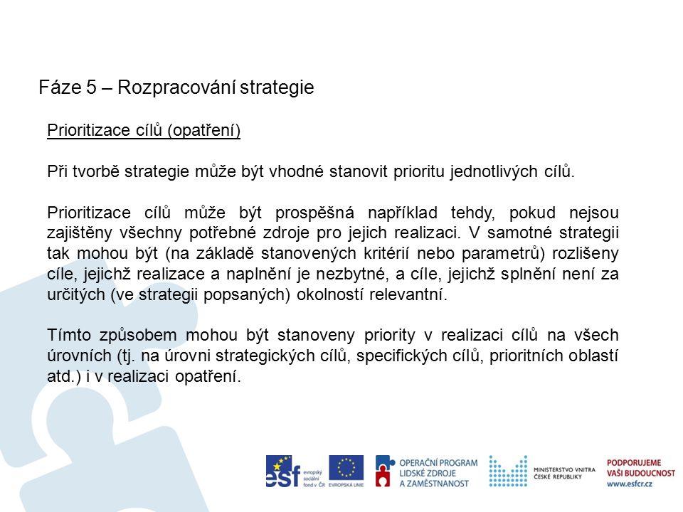 Fáze 5 – Rozpracování strategie 18 Prioritizace cílů (opatření) Při tvorbě strategie může být vhodné stanovit prioritu jednotlivých cílů.