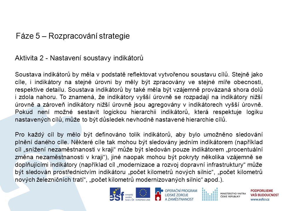 Fáze 5 – Rozpracování strategie 22 Aktivita 2 - Nastavení soustavy indikátorů Soustava indikátorů by měla v podstatě reflektovat vytvořenou soustavu cílů.