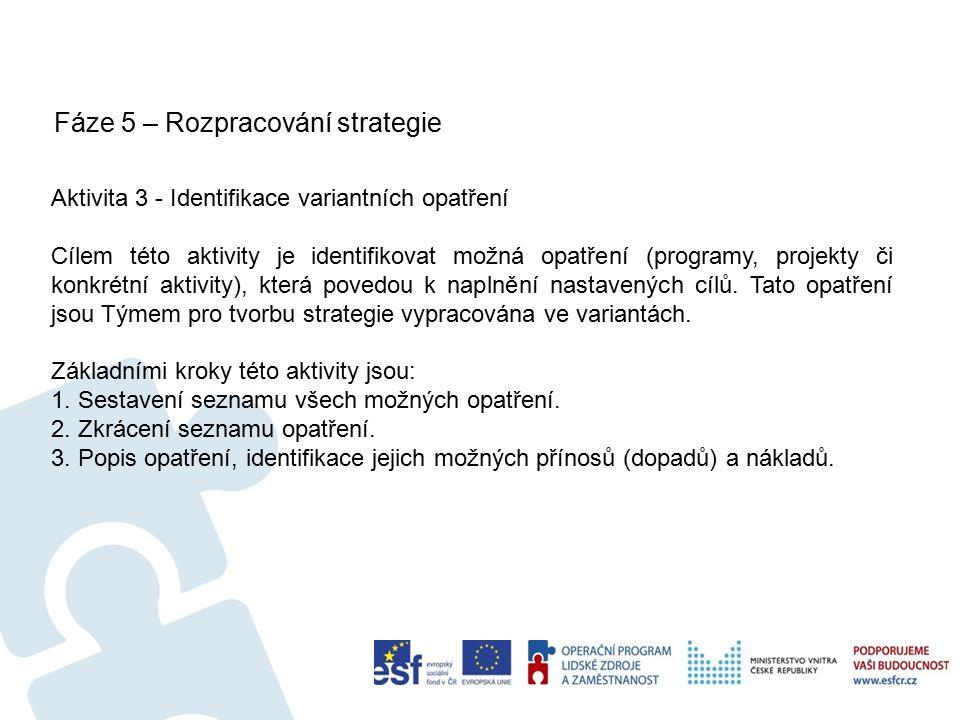 Fáze 5 – Rozpracování strategie 26 Aktivita 3 - Identifikace variantních opatření Cílem této aktivity je identifikovat možná opatření (programy, projekty či konkrétní aktivity), která povedou k naplnění nastavených cílů.