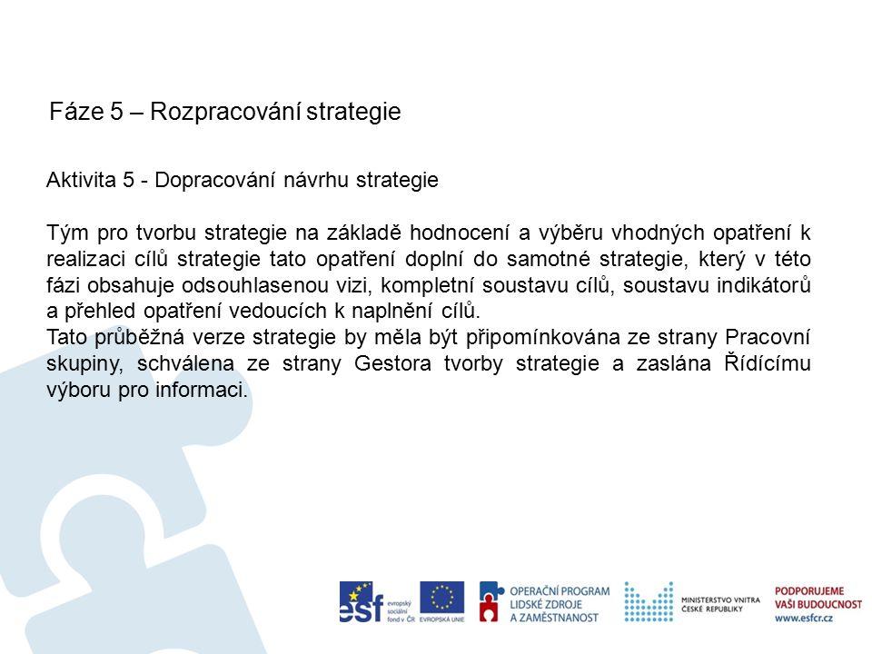 Fáze 5 – Rozpracování strategie 33 Aktivita 5 - Dopracování návrhu strategie Tým pro tvorbu strategie na základě hodnocení a výběru vhodných opatření k realizaci cílů strategie tato opatření doplní do samotné strategie, který v této fázi obsahuje odsouhlasenou vizi, kompletní soustavu cílů, soustavu indikátorů a přehled opatření vedoucích k naplnění cílů.