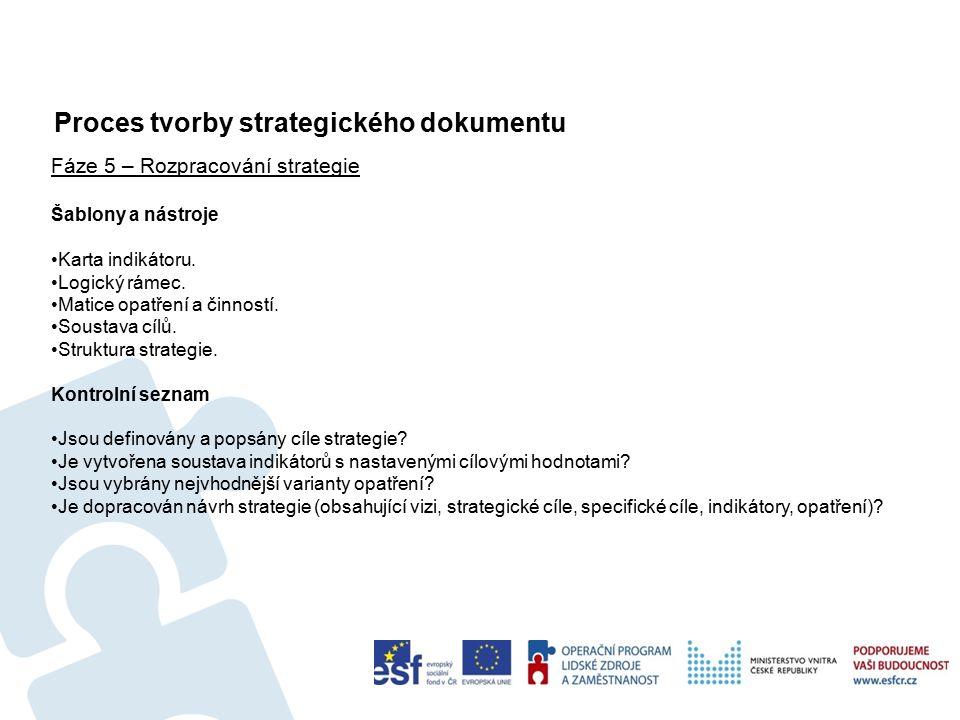 Proces tvorby strategického dokumentu 36 Fáze 5 – Rozpracování strategie Šablony a nástroje Karta indikátoru.