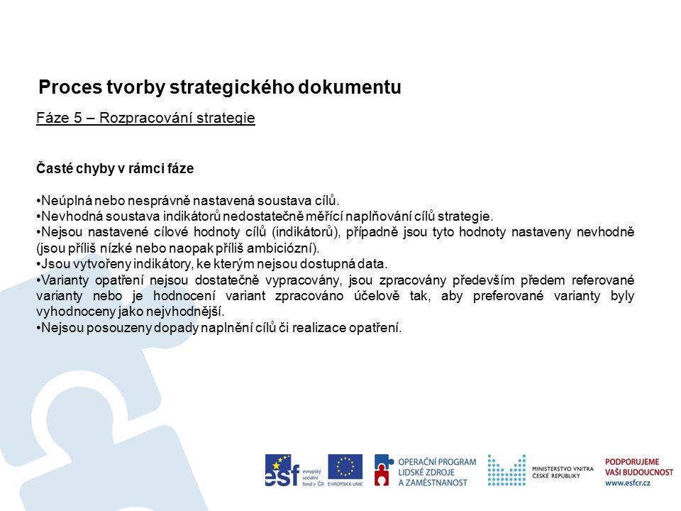 Proces tvorby strategického dokumentu 37 Fáze 5 – Rozpracování strategie Časté chyby v rámci fáze Neúplná nebo nesprávně nastavená soustava cílů.