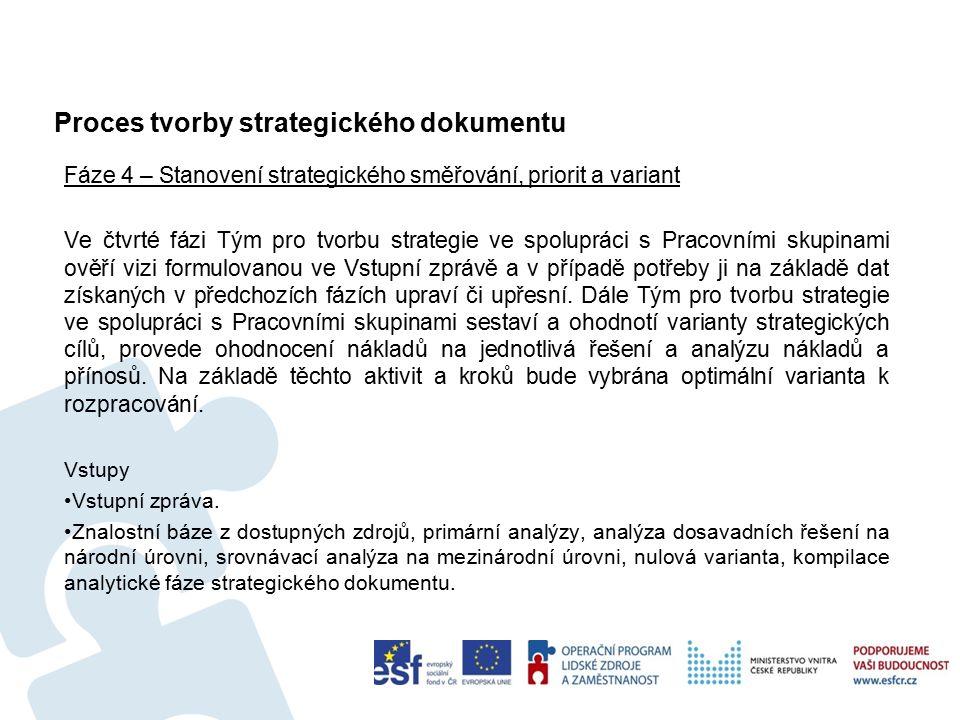 Aplikace procesu tvorby strategického dokumentu 75 Příklady možné aplikace Metodiky přípravy veřejných strategií Zde využijeme vlastní metodiky přípravy veřejných strategií na straně 69 - 92