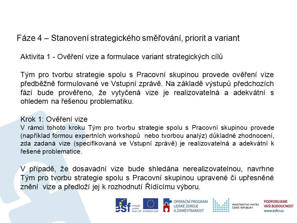 Fáze 7 – Schvalování strategie 56 Aktivita 2 - Interní připomínkování a schválení strategie Interní připomínkové řízení probíhá v následujících krocích: vytvoření důvodové zprávy, seznámení připomínkujících s návrhem strategie, vypořádání připomínek a případně úprava strategie, schválení strategie.