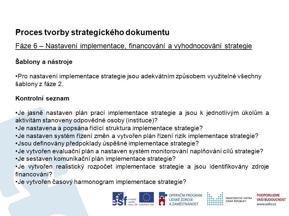 Proces tvorby strategického dokumentu 51 Fáze 6 – Nastavení implementace, financování a vyhodnocování strategie Šablony a nástroje Pro nastavení implementace strategie jsou adekvátním způsobem využitelné všechny šablony z fáze 2.