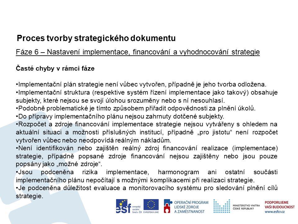 Proces tvorby strategického dokumentu 52 Fáze 6 – Nastavení implementace, financování a vyhodnocování strategie Časté chyby v rámci fáze Implementační plán strategie není vůbec vytvořen, případně je jeho tvorba odložena.