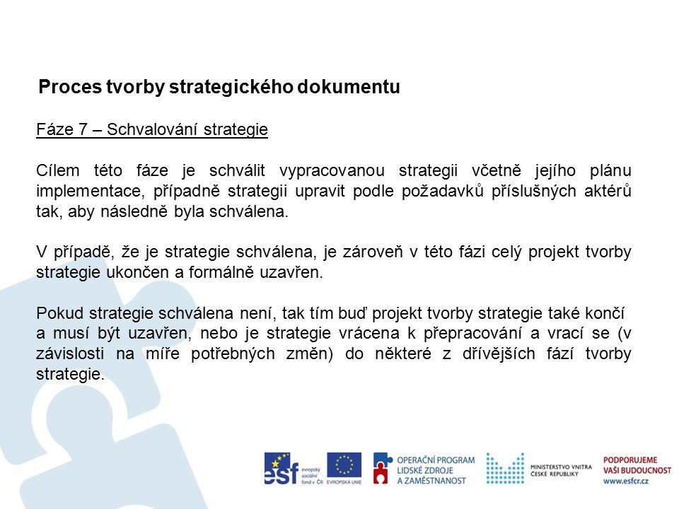 Proces tvorby strategického dokumentu 53 Fáze 7 – Schvalování strategie Cílem této fáze je schválit vypracovanou strategii včetně jejího plánu implementace, případně strategii upravit podle požadavků příslušných aktérů tak, aby následně byla schválena.