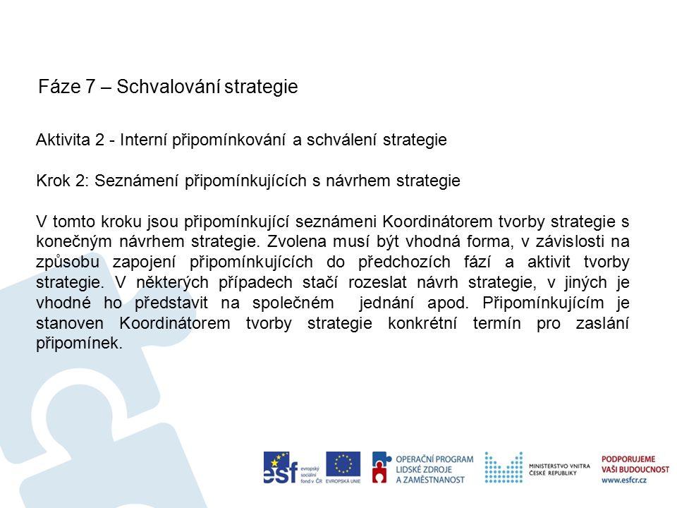 Fáze 7 – Schvalování strategie 58 Aktivita 2 - Interní připomínkování a schválení strategie Krok 2: Seznámení připomínkujících s návrhem strategie V tomto kroku jsou připomínkující seznámeni Koordinátorem tvorby strategie s konečným návrhem strategie.