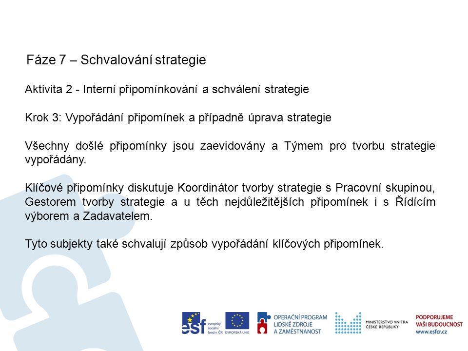 Fáze 7 – Schvalování strategie 59 Aktivita 2 - Interní připomínkování a schválení strategie Krok 3: Vypořádání připomínek a případně úprava strategie Všechny došlé připomínky jsou zaevidovány a Týmem pro tvorbu strategie vypořádány.