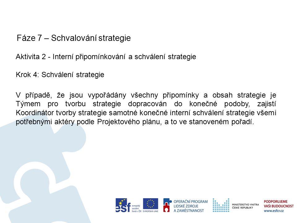 Fáze 7 – Schvalování strategie 60 Aktivita 2 - Interní připomínkování a schválení strategie Krok 4: Schválení strategie V případě, že jsou vypořádány všechny připomínky a obsah strategie je Týmem pro tvorbu strategie dopracován do konečné podoby, zajistí Koordinátor tvorby strategie samotné konečné interní schválení strategie všemi potřebnými aktéry podle Projektového plánu, a to ve stanoveném pořadí.